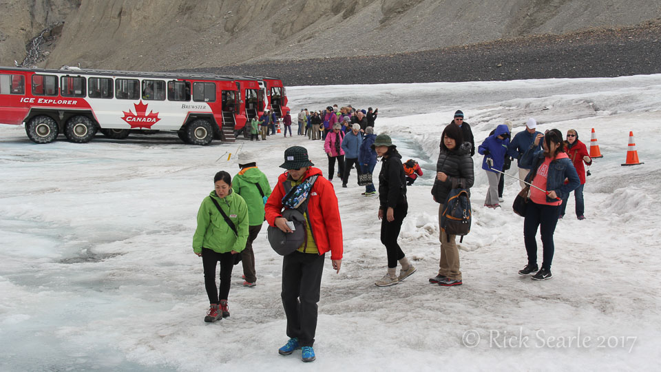 Tourists on Athabasca Glacier