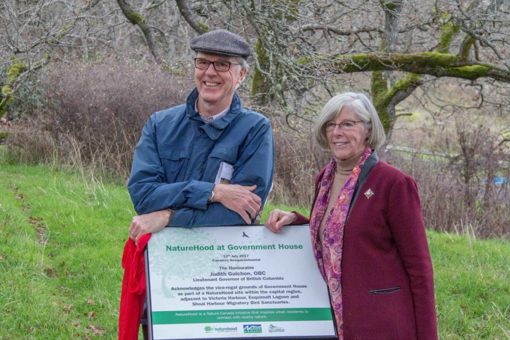 Judith Guichon Lieutenant Governor and Bob Peart Friends of Shoal Harbour Unveiling of Naturehood Sign