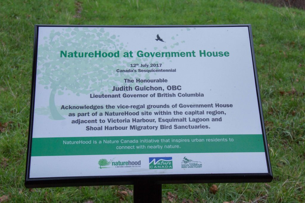 aNaturehood Sign at Government House